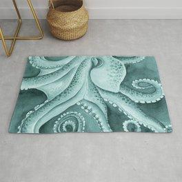 Cyan Green Octopus Tentacles Ink Watercolor Rug