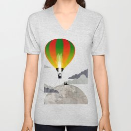Picnic in a Balloon on the Moon Unisex V-Neck
