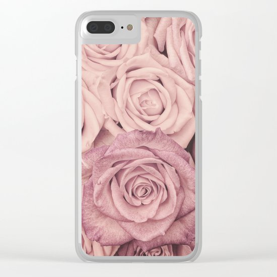 Some people grumble - Pink rose pattern- roses Clear iPhone Case