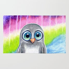 Baby penguin in the southern lights Rug
