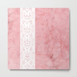 Delicate White Stripe Butterfly Pattern Pink Texure Design Metal Print