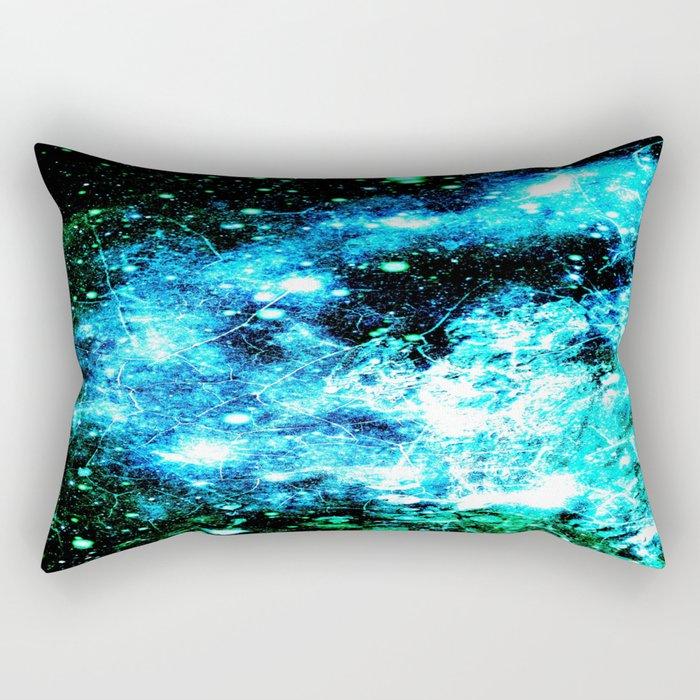 Chaotic Space :  gaLAxy Turquoise Aqua Gray Rectangular Pillow