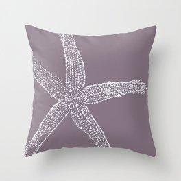 Starfish- white on plum Throw Pillow