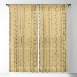 Moroccan Stripe in Mustard Yellow Sheer Curtain