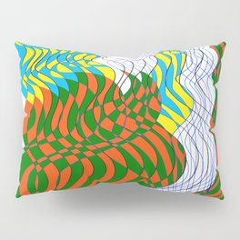 Waves Lines Black and Blue Lines - Colored Pillow Sham