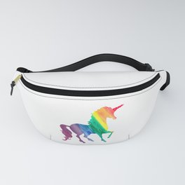 Rainbow Watercolor Unicorn Silhouette Fanny Pack
