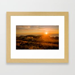 jacks bay new zealand at sunset farmland bay orange sunset rocks Framed Art Print