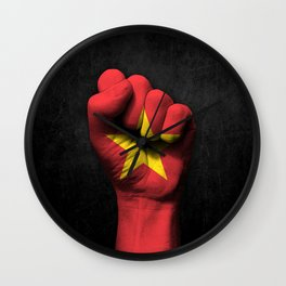 Vietnamese Flag on a Raised Clenched Fist Wall Clock