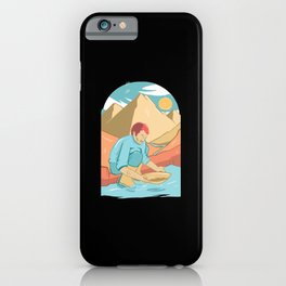 Gold panning on the river in the mountains iPhone Case