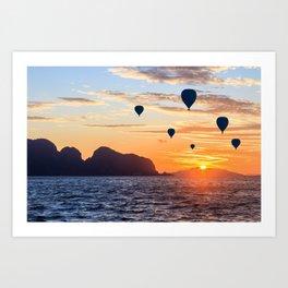 Hot air balloons at sunrise in Phang Nga Bay, Thailand Art Print