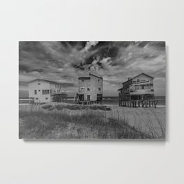 Derelict Houses Nags Head, NC black and white Metal Print