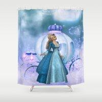 cinderella Shower Curtains featuring Cinderella by Fairytale Art