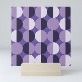 Retro circles grid purple Mini Art Print