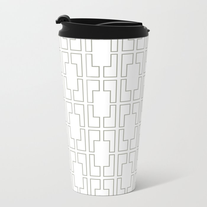 Simply Mid-Century Retro Gray on White Metal Travel Mug