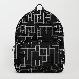 Circuitry - Abstract, geometric, black and white Backpack