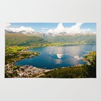 norway Area & Throw Rugs featuring Sandane, Norway by MankiniPhotography
