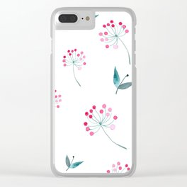 Pink Dandelion Clear iPhone Case