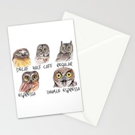 Owl Caffeine Meter -  funny owl coffee Stationery Cards