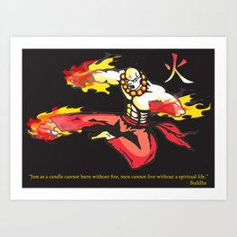 Monk On Fire Art Print