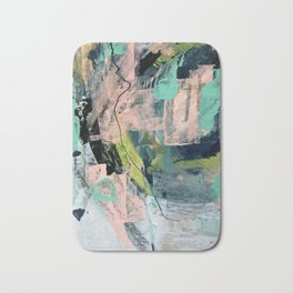 Connect [4] : a vibrant acrylic abstract in neon green, blues, pinks, & hints of orange Bath Mat