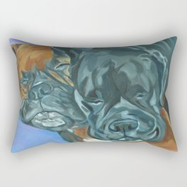 Boxer Buddies Dog Portrait Rectangular Pillow