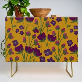 Purple and Gold Floral Seamless Illustration Credenza