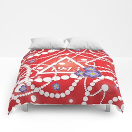 Crimson and Pearls Comforters