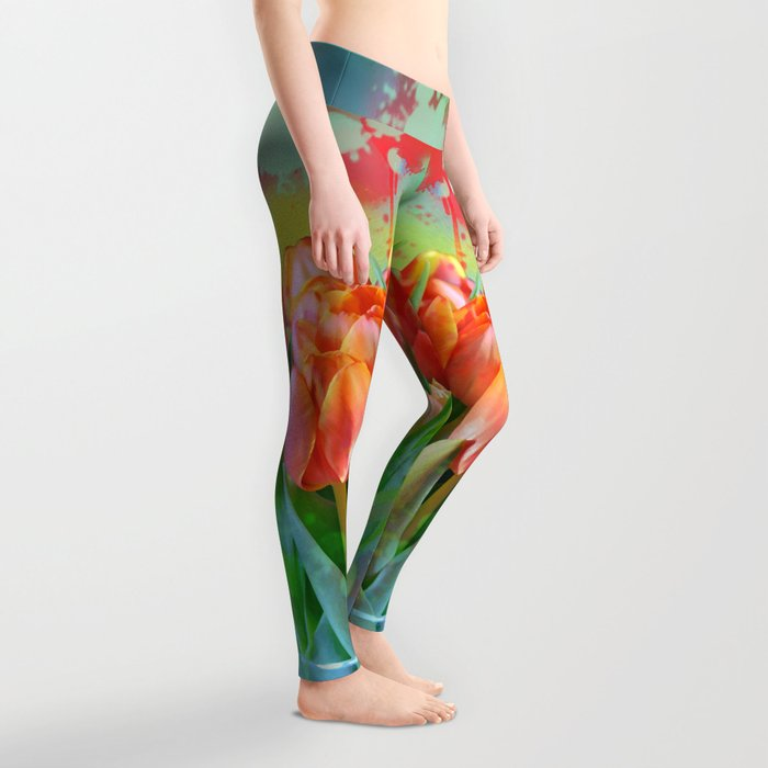 Painterly spring tulips on an abstract background Leggings