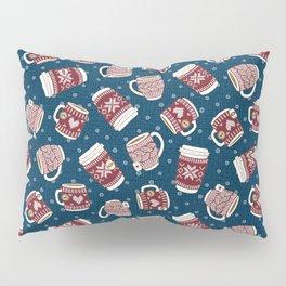 Cozy Red Mugs Pillow Sham