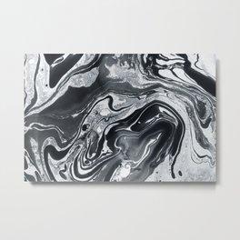Marble in Black Ink Metal Print