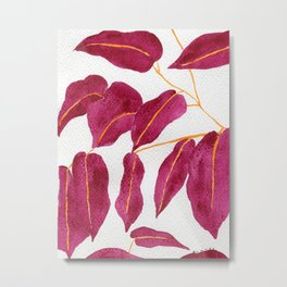 Ruby and gold leaves watercolor illustration Metal Print