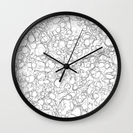 Black and White Ink Pen Lines Bubbles Pattern Wall Clock