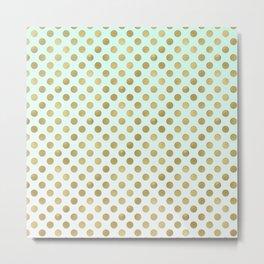 Mint Ombre Gold Dots Metal Print