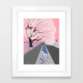 Cherry blossoms by canal Framed Art Print