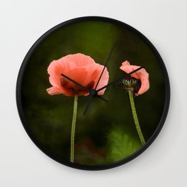Couple Pink Oriental Poppies Wall Clock