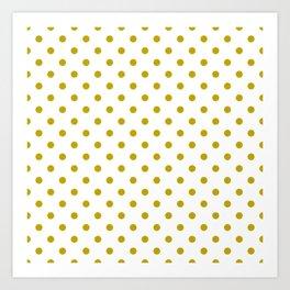 White and Gold Polka Dots Art Print