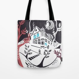 Round Tree House Tote Bag