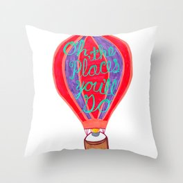 """""""Oh the Places You'll Go"""" – Balloon plus Lettering Throw Pillow"""