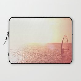 Windsurfer against of beautiful sea view. Unrecognizable. Pink toned. Laptop Sleeve