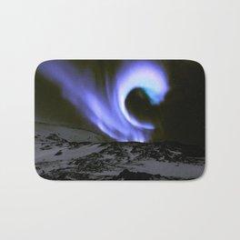 Aurora Borealis Mountains Periwinkle Lavender Bath Mat