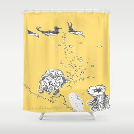 Two Tailed Duck and Jellyfish Pale Yellow Mellow Shower Curtain