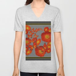 Decorative Orange Butterflies Poppy Floral Grey Art Unisex V-Neck
