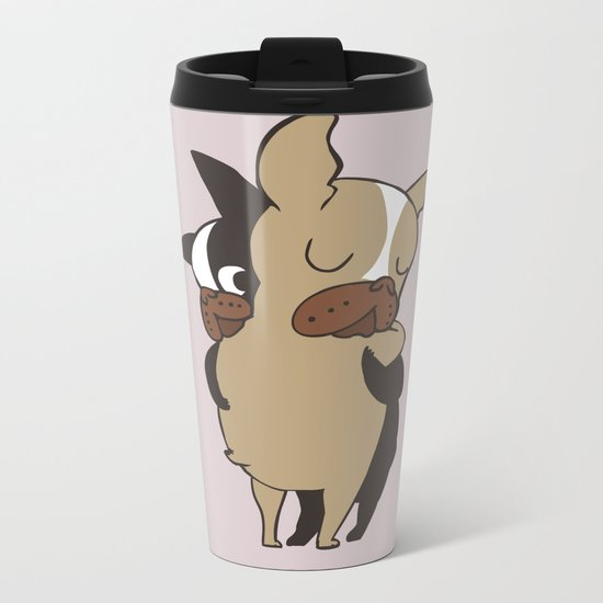 Frenchie Hugs Metal Travel Mug