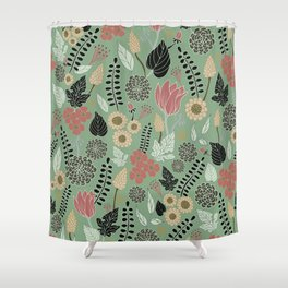 Pink & Green Floral Pattern Shower Curtain