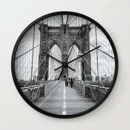 Brooklyn Bridge, New York City (rustic black & white) Wall Clock