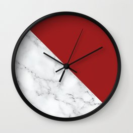 Geometric Art, Marble Prints with Red, Block Color Art Wall Clock