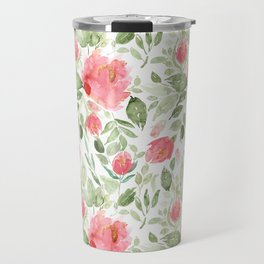 Painted Watercolour Garden Red Roses Travel Mug