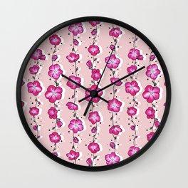 Raspberry Crush Wildflower Wall Clock