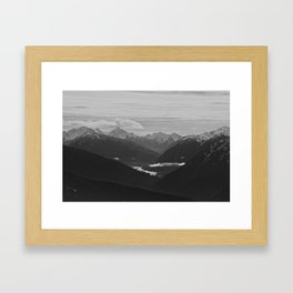Mountain Landscape Black and White Framed Art Print