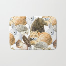 woodland animals pattern Bath Mat